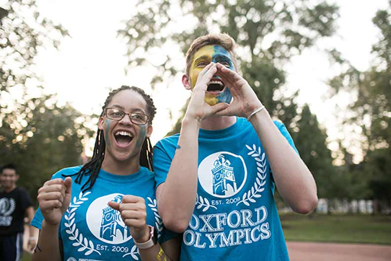 Students celebrate at the Oxford Olympics