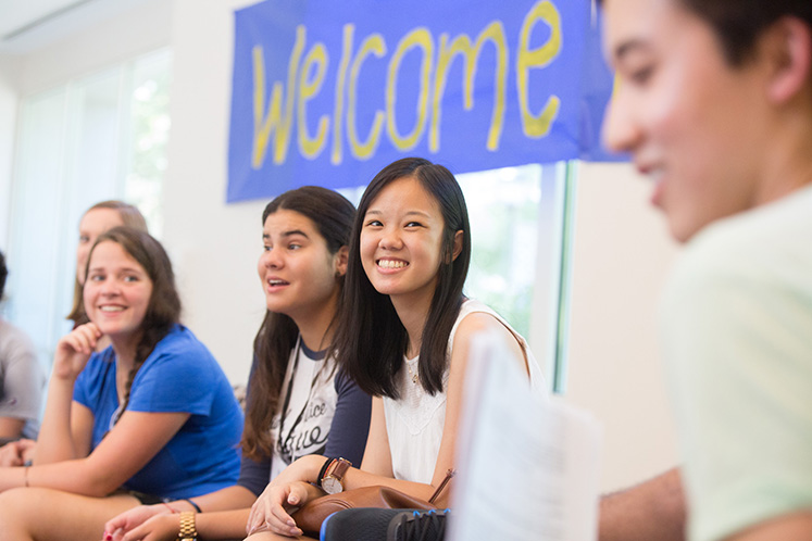 Students receive guidance on adjusting to college life.