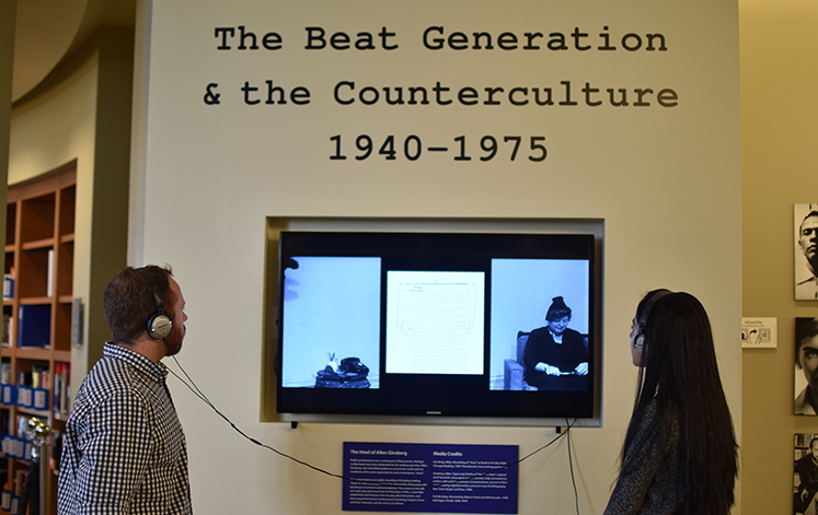 The Beat Generation exhibit at the Oxford Library encourages listening and touching exhibit materials.