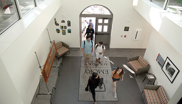 The new Pierce Hall entrance boasts a welcoming lobby.
