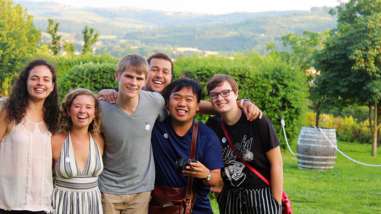Students during a summer course trip in Europe